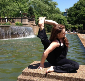 Ashley Binetti received her 200-hour vinyasa yoga teacher training at Saraswatis's Yoga Joint in Norwalk, CT in 2011. Her favorite pose is Triangle.  When she's not doing yoga, Ashley works as a nonprofit attorney.  She is also a MINT Ambassador.